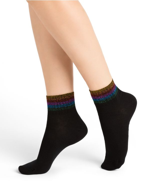 Glossy stripe cotton ankle socks