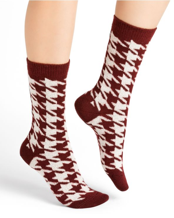 Houndstooth pattern cashmere socks