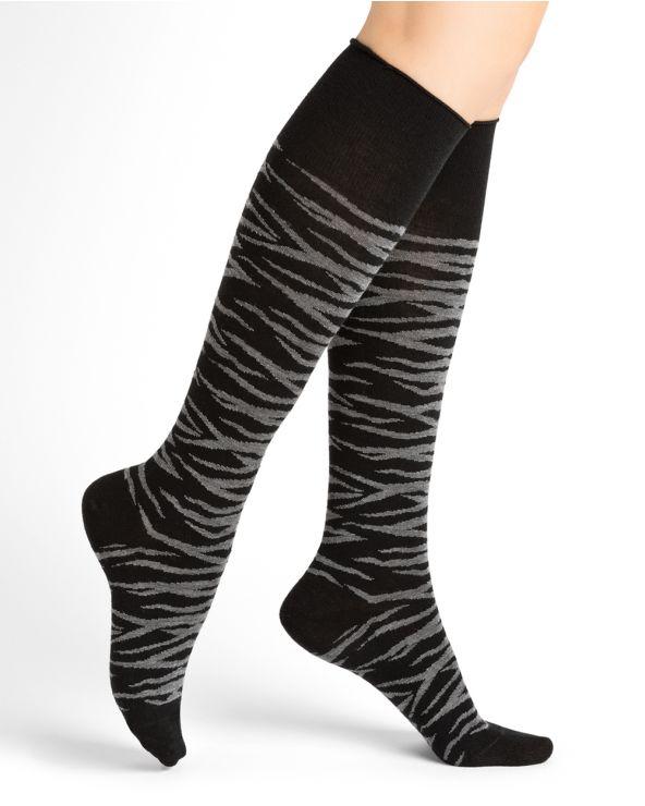 Mi-bas laine motif rayures tigrées