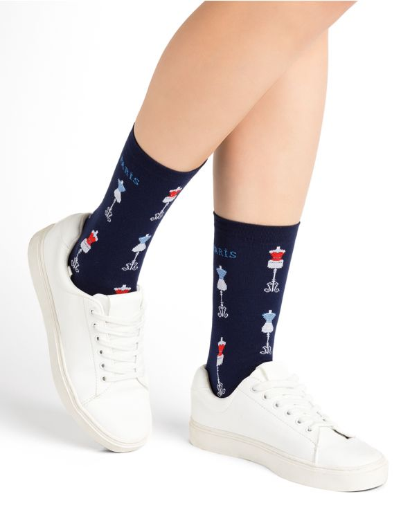 Cotton socks with haute couture pattern