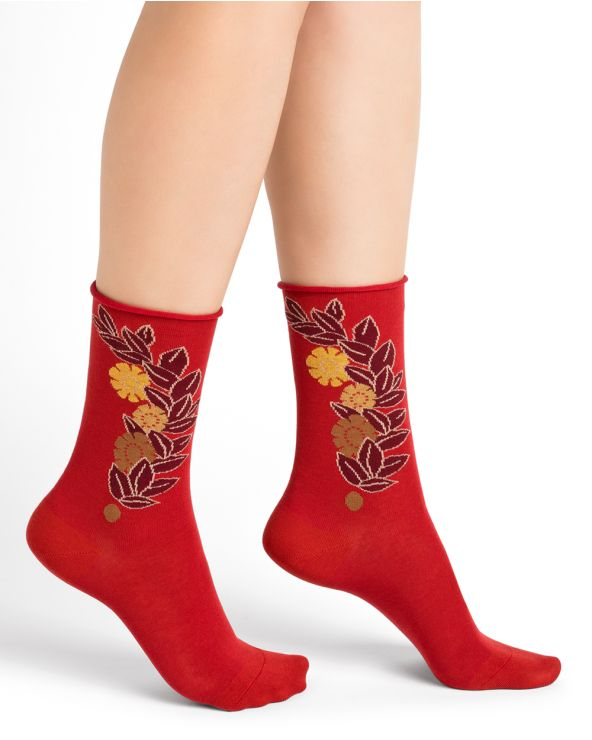 Roll-top cotton socks with vintage floral pattern