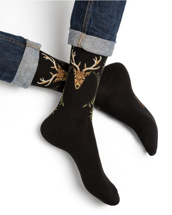 Stag pattern cotton socks