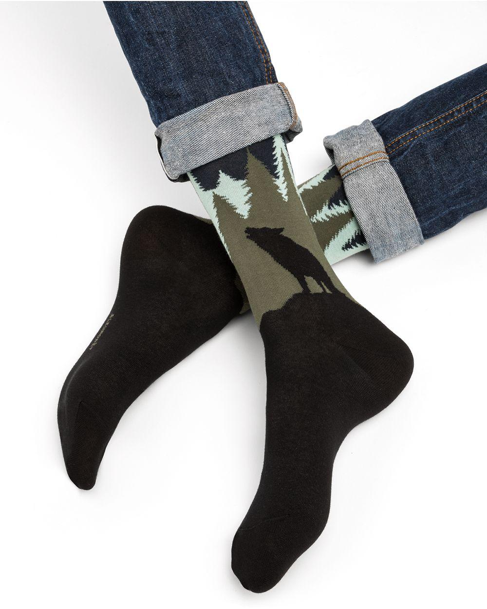 Wolf pattern cotton socks