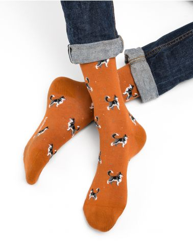 Husky pattern cotton socks