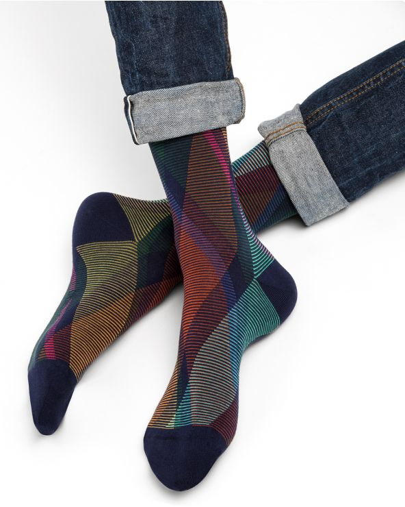 Argyle striped cotton socks