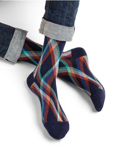Chaussettes coton motif tartan milleraies
