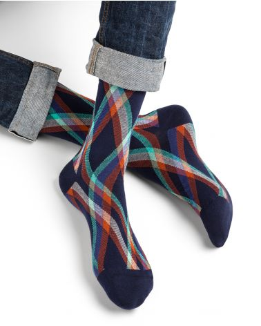 Tartan stripe pattern cotton socks