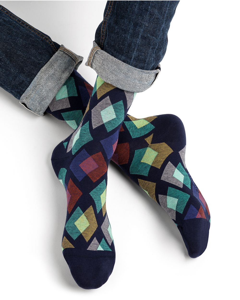 Diamond striped cotton socks