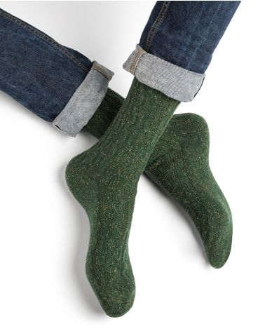 Cashmere and silk cable pattern socks
