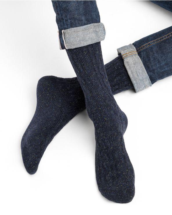 Chaussettes cachemire soie torsadées