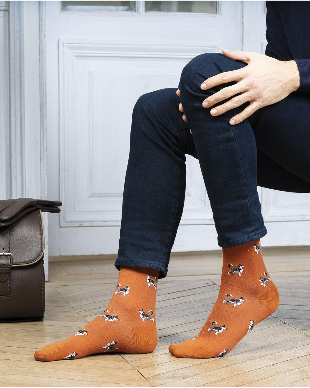 Chaussettes coton motif huskys