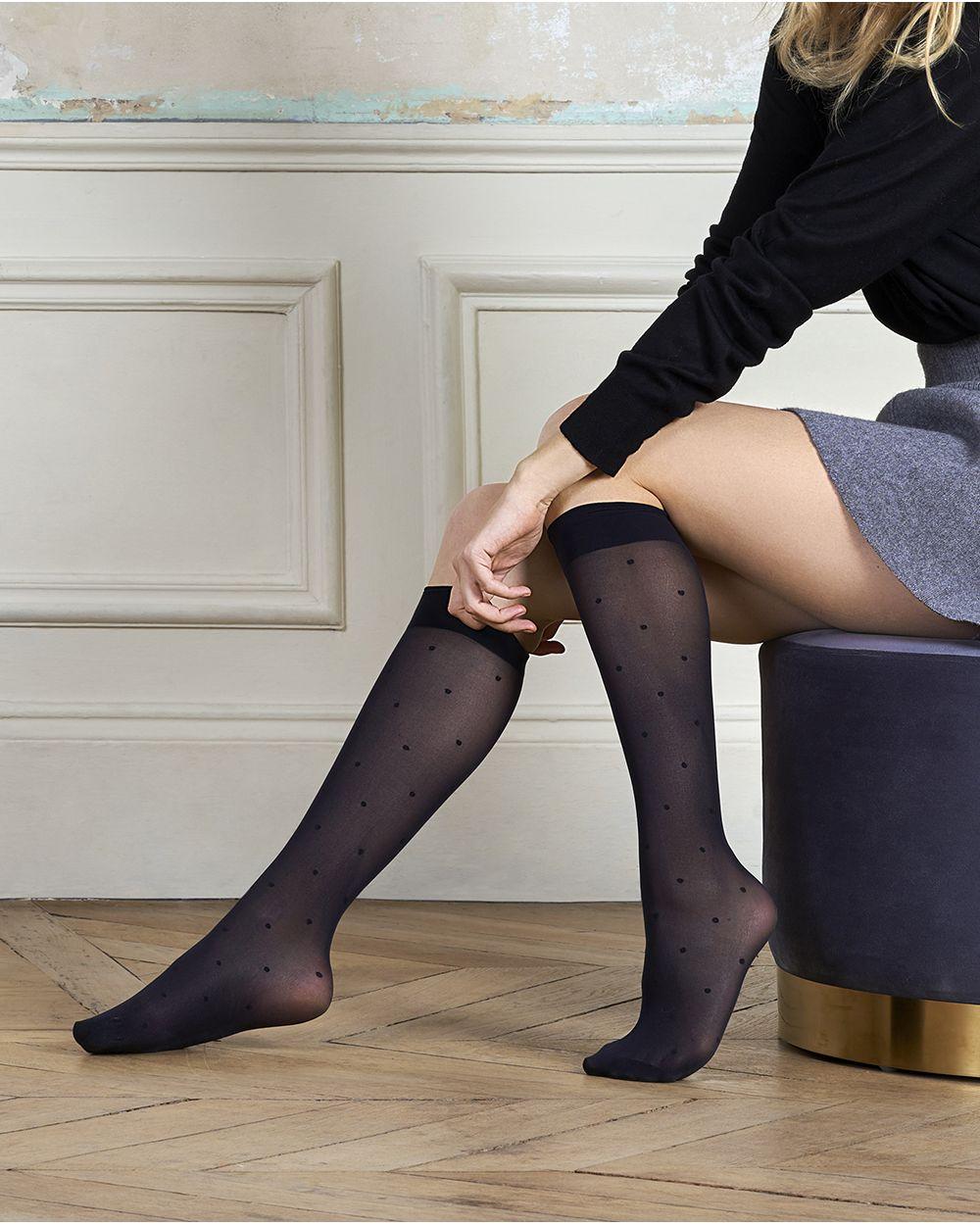 30D semi-opaque dot-pattern knee-highs - Excellence