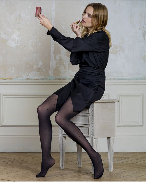 30D semi-opaque dot-pattern tights - Excellence