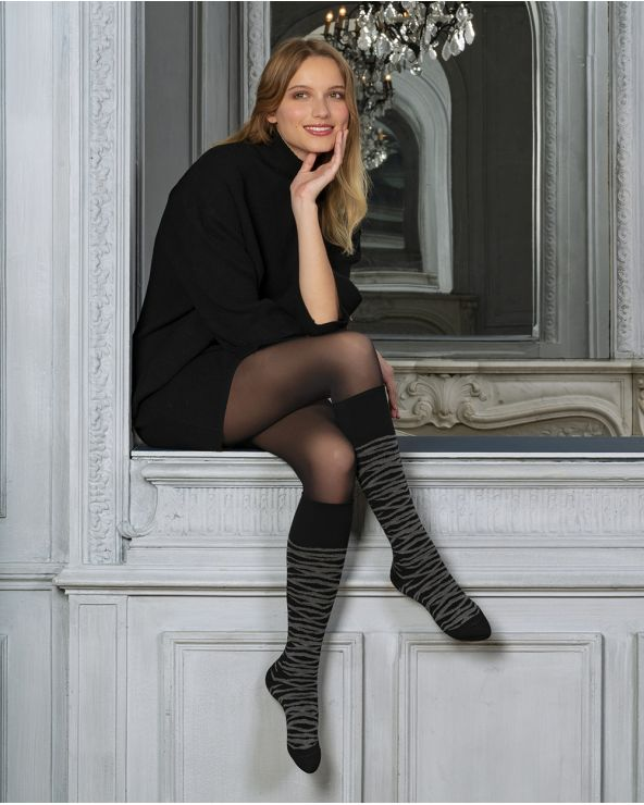 Tiger stripe wool knee-high socks