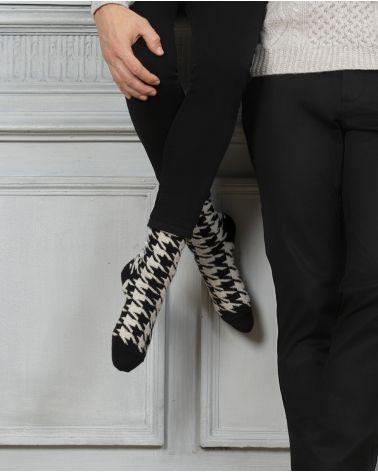 Houndstooth pattern cashmere socks