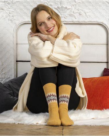 Jacquard pattern cashmere socks