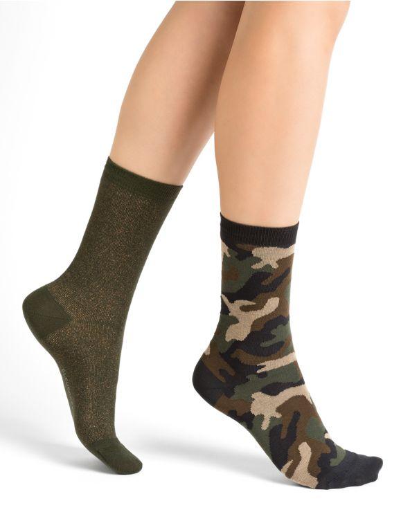 Chaussettes coton motif camouflage - brillantes