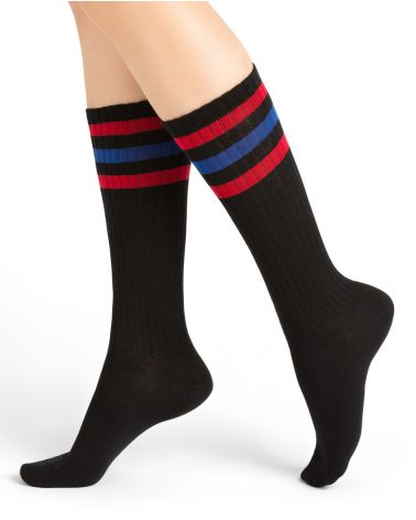 Striped knee-high cotton socks