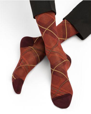 Prince of Wales check mercerised cotton socks