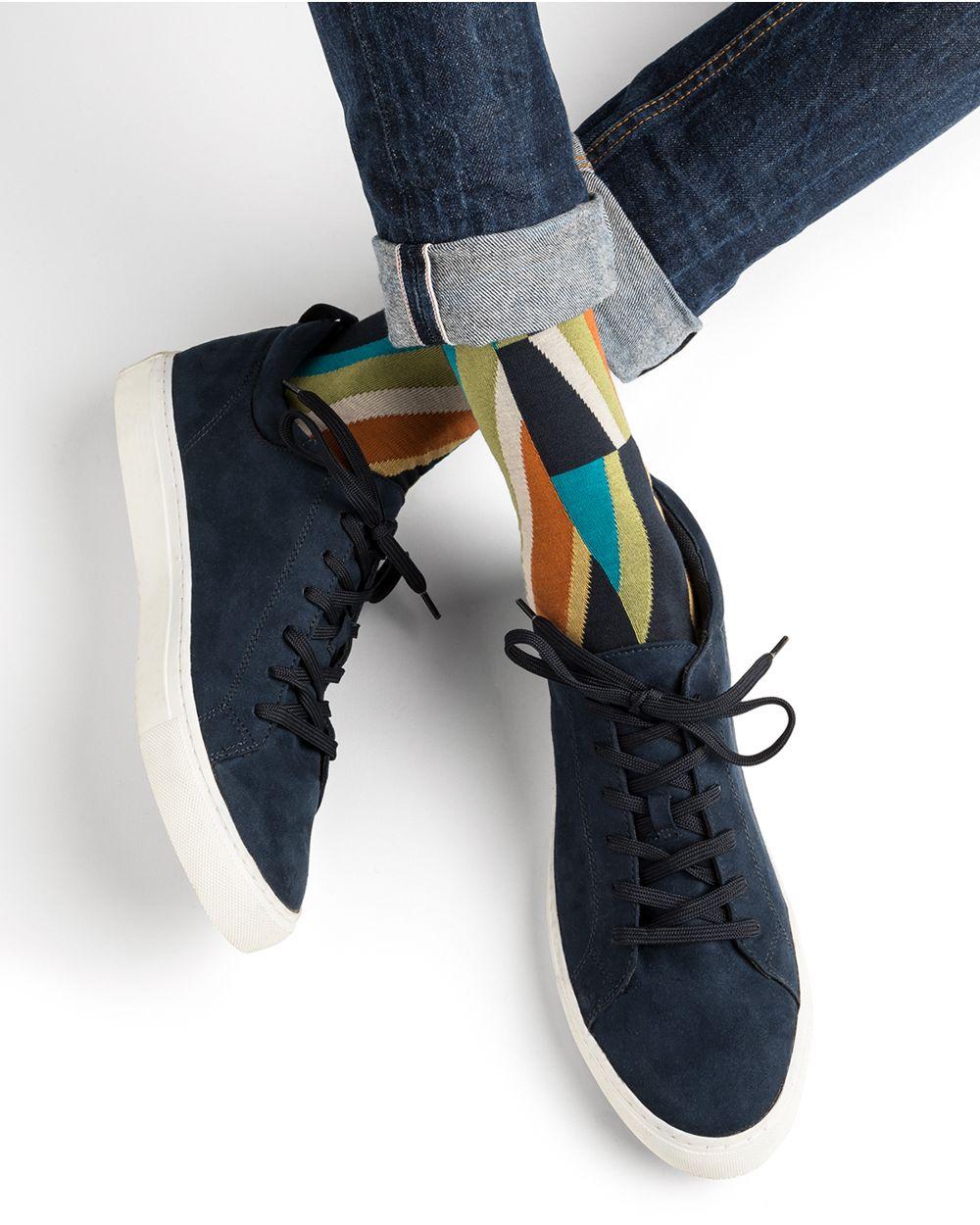 Multicoloured diagonal pattern cotton socks