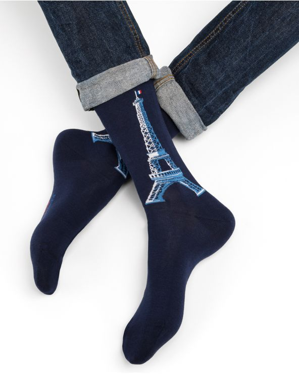 Eiffel Tower motif cotton socks