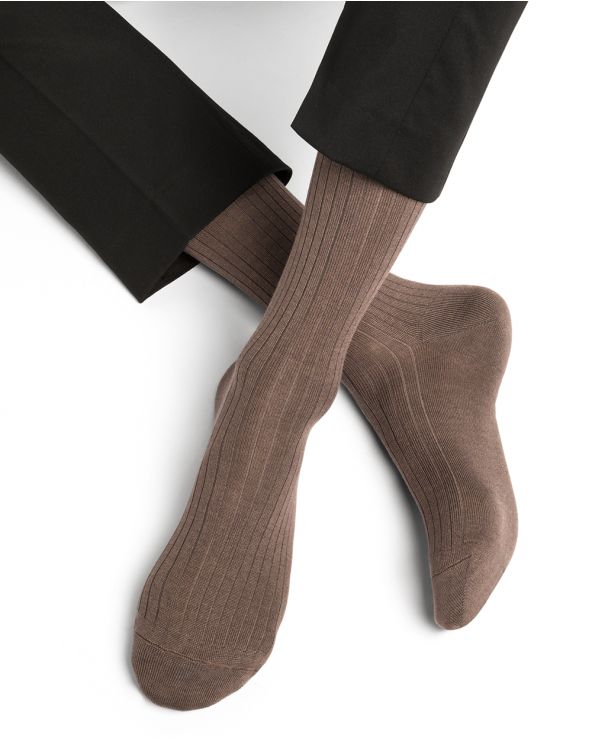 Ribbed cashmere, wool & silk socks