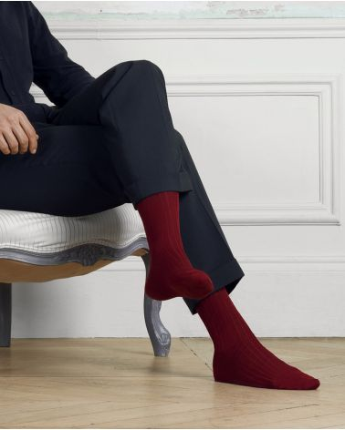 Ribbed socks in 100% mercerised cotton