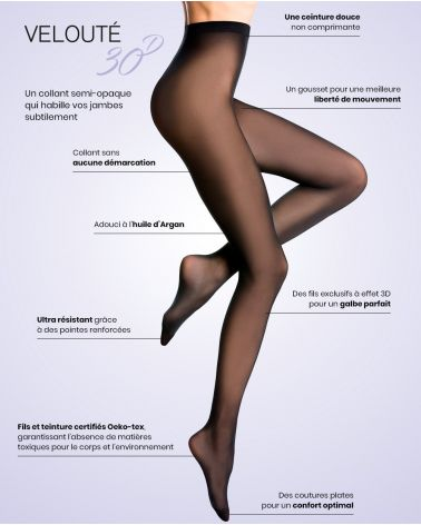 Collant semi-opaque 30D plumetis - Excellence - Noir
