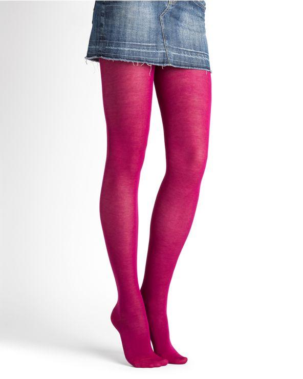 Collant pur Coton velouté - Fuchsia
