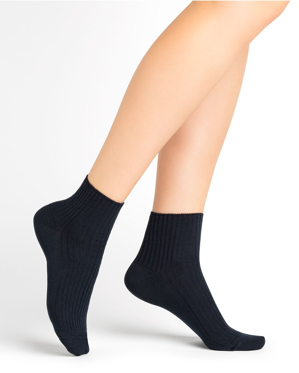 Plain ribbed cotton ankle socks