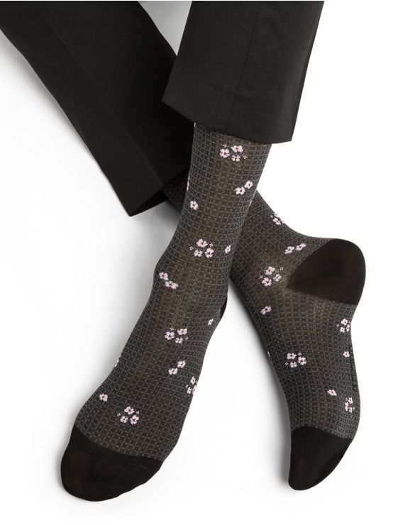Chaussettes Fil d'Écosse Motif Fleurettes