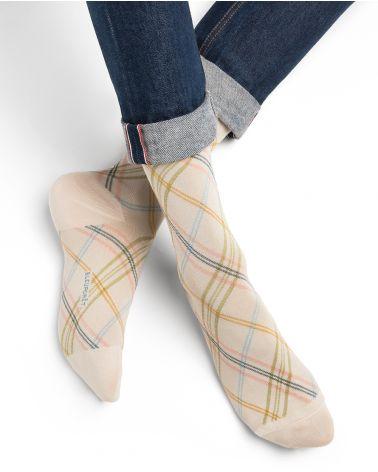 Chaussettes Coton d'Égypte Motif Losanges Écossais