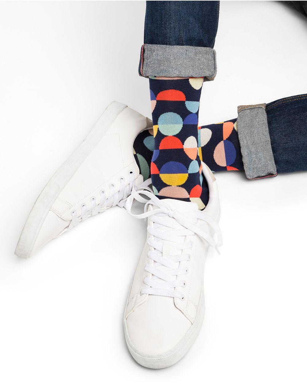 Chaussettes Coton Motif Pois Géométriques