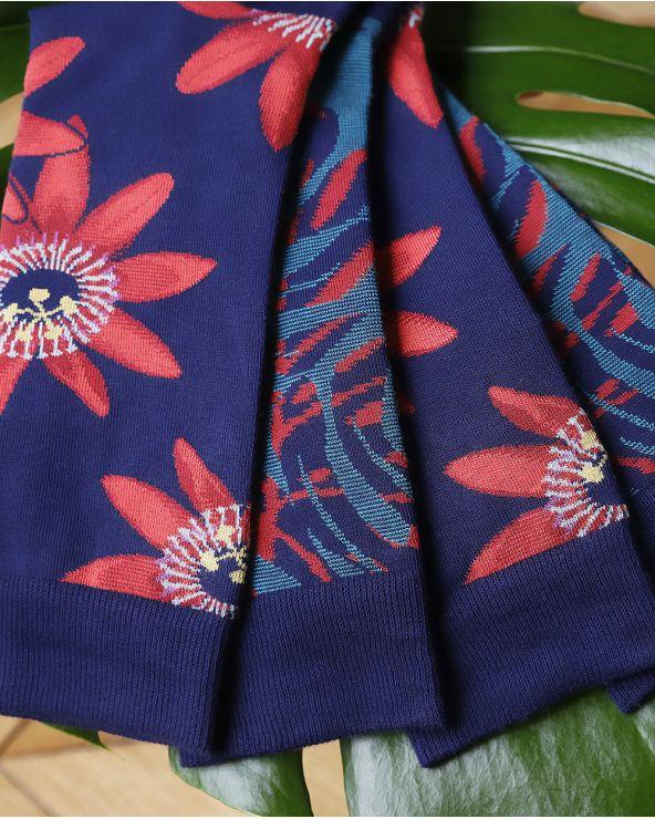 Chaussettes Coton Motif Fleurs Éxotiques