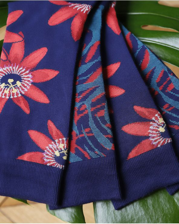 Chaussettes Coton Motif Palmes Éxotiques