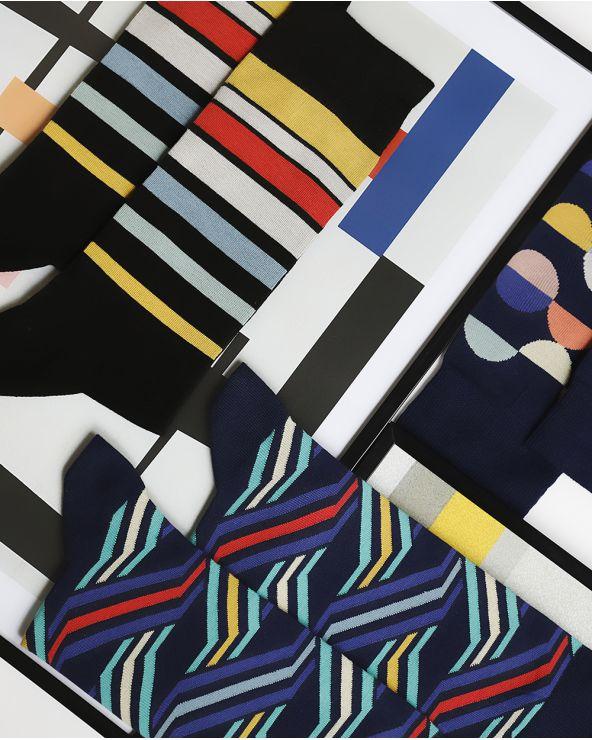 Chaussettes Coton Motif Diagonales Destructurées