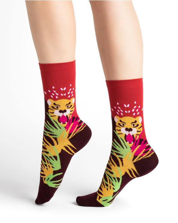 Tiger pattern cotton socks