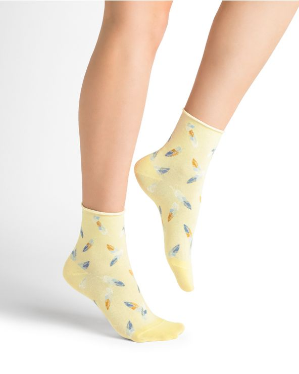 Feather Pattern Pure Cotton Rolled Edge Short Socks