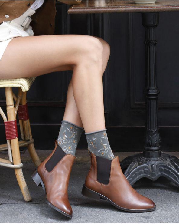 Chaussettes coton motif pissenlits bord roulé
