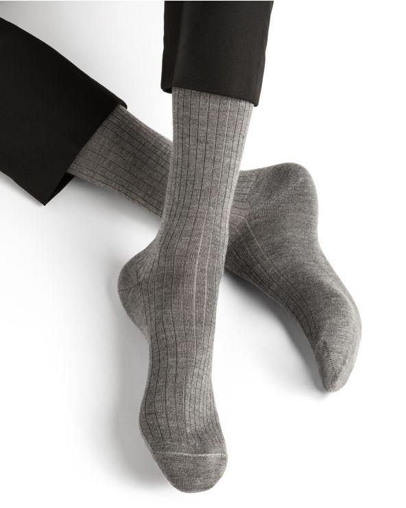 Chaussettes laine cachemire & soie à côtes