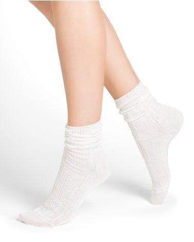 Twisted rib pattern linen and cotton mid-calf socks