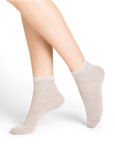 Linen and cotton mid-calf socks