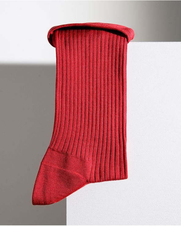 Ribbed silk socks