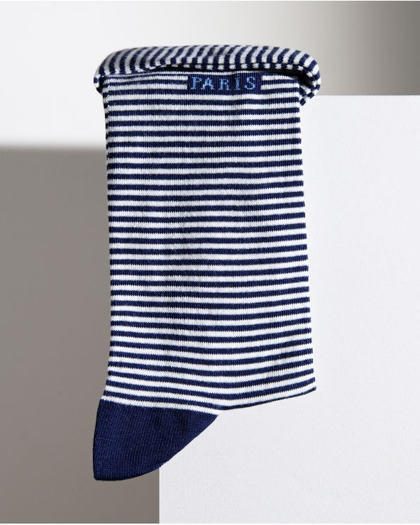 Blue and white striped cotton socks