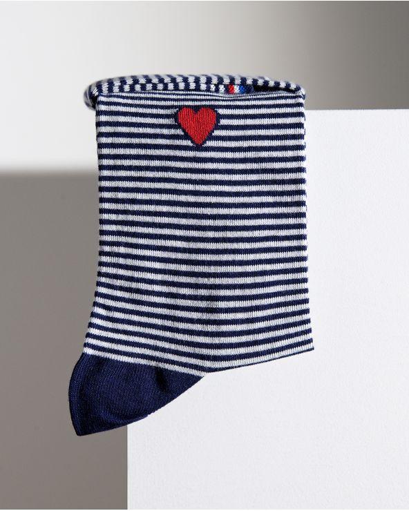 Chaussettes coton motif marinière