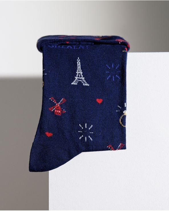 Paris by night pattern cotton socks