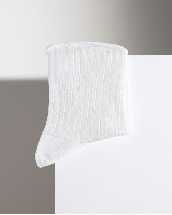 Openwork Rib Mercerised Cotton Socks