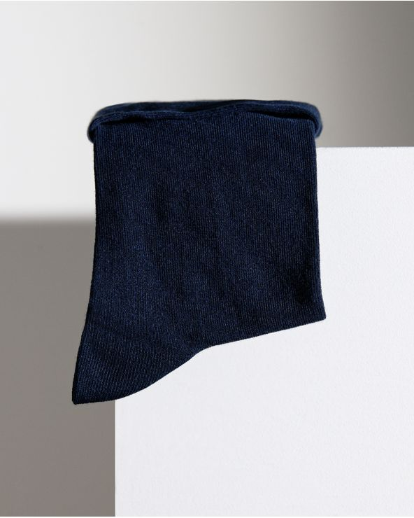 Roll-top pure cotton ankle socks