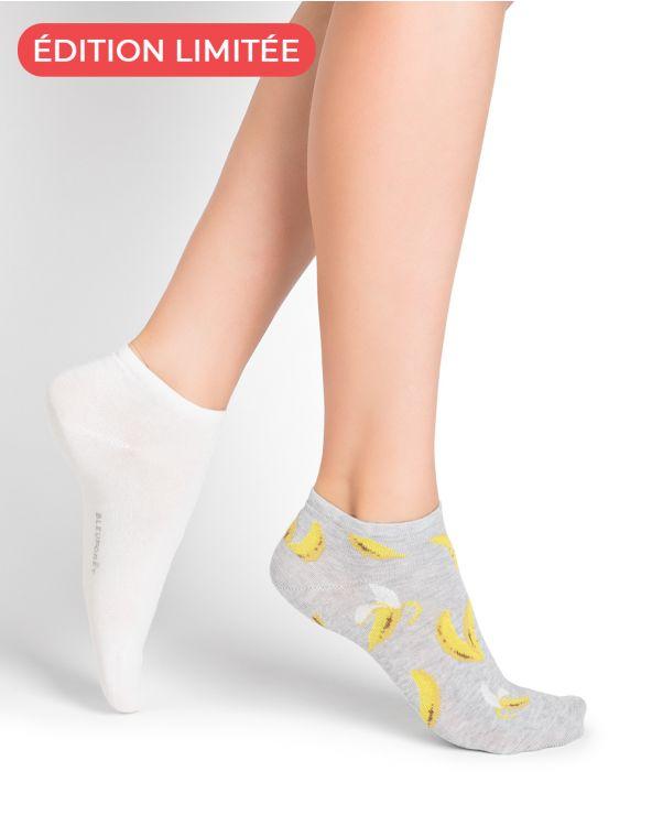 Plain and Banana Pattern Cotton Socks - DUO