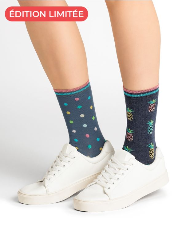 Pineapple and Polka Dot Pattern Cotton Socks - DUO